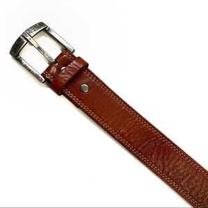 Fossil Men's Leather Belt With Silver Buckle